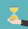 gold coins in hourglass in business hand time is vector image