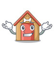 grinning cartoon dog house and bone isolated vector image vector image