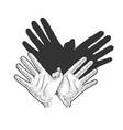 hands show eagle shadow sketch vector image vector image