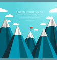 landscape with red flag on the top of mountains vector image