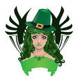Leprechaun lady in green hat vector image vector image