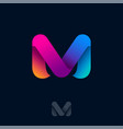 m logo rainbow ribbons monogram web icon vector image