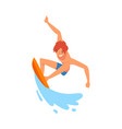 male surfer character riding on ocean wave vector image vector image