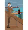 man sipping wine vector image