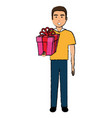 man with giftbox present vector image