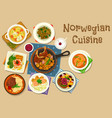 norwegian cuisine fish and meat dishes icon vector image vector image