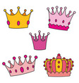 pastel crown set isolated on white background vector image