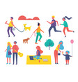 people activities in summer vector image vector image