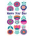 scandinavian flora banner with happy message vector image vector image