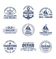 set isolated logo with boat or ship yacht vector image vector image