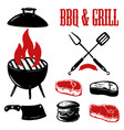 set of hand drawn bbq and grill elements vector image vector image