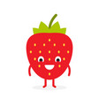 strawberry cute fruit character vector image vector image