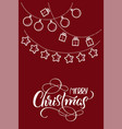 stylized flat christmas toys on red backgroud and vector image