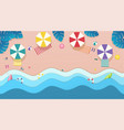 top view sea the beach with umbrellas sun beds vector image