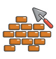 trowel and brick wall icon cartoon style vector image vector image