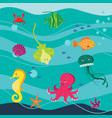 under the sea word set of animals isolated vector image vector image