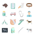 Veterinary clinic set icons in cartoon style Big vector image
