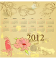 vintage template for calendar 2012 vector image vector image
