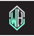 Wh logo monogram with hexagon shape and outline