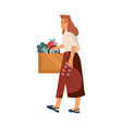 woman at grocery store shopping concept cartoon vector image
