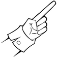 Black and white hand points vector image