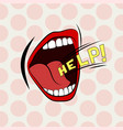 cartoon mouth loud help stylish colored design vector image