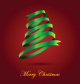 Green Ribbon Christmas Tree On Red Background vector image
