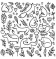 autumn doodle background set foxes vector image vector image