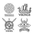 barbarian and ikings emblems vector image vector image