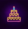 birthday cake neon sign vector image vector image