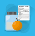 bottle glass orange nutrition facts sticker vector image