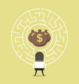 businessman wanting to enter a money maze vector image vector image