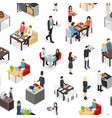 cafe 3d seamless pattern background isometric view vector image