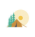 Camping day isolated sun forest and tent vector image