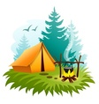 Camping in forest with tent vector image vector image