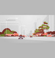 cars driving road modern city panorama with street vector image