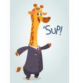 cartoon giraffe in suite vector image