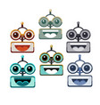 cartoon robot face smiling cute emotion open mouth vector image