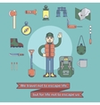 Character - hiker camping concept vector image