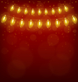 Christmas lights on red vector image vector image
