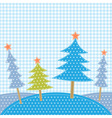 Christmas trees in patchwork style vector image