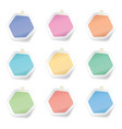 collection colorful hexagon sticky paper notes vector image
