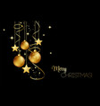elegant christmas background with gold baubles vector image