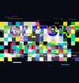 glitch no signal tv abstract color pixels on vector image