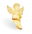 Golden angel with music lyre vector image vector image