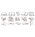 hand drawn books black and white pencil sketch of vector image