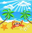 Happy crab in hat with star and flowers vector image vector image