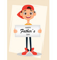 Happy fathers day greeting card boy holding sign