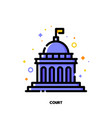 icon of court building for law and justice vector image
