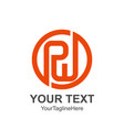 initial letter pw logo template colored orange vector image vector image